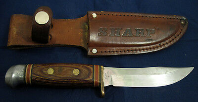 Vintage Sharp Wood Handle Japan Hunting Knife With Original Leather Sheath