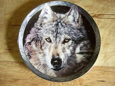 Wolf Collector Plate Bradford Exchange Midnight Snow 1994 Mystic Spirit Animal