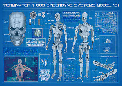 The Terminator T-800 Blueprints Wall Art Large Poster Print A0 A1 A2 A3 A4