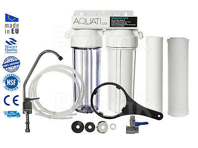 2 Stage Undersink Ceramic Drinking Water Filter Sytsem Tap Kit + Accessories