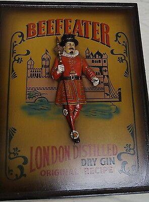 Extremely Rare! Beefeater London Dry Gin Old 3D Wooden Advertising Wall Board