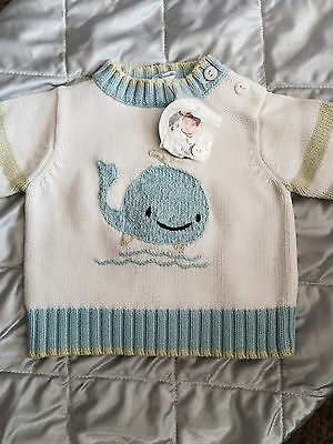 little Knits INFANT BOYS BABY GAP BLUE CREW NECK SWEATER SIZE 0 - 3 M NWT