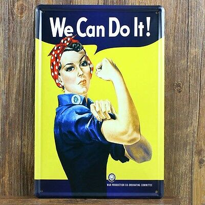 "Targa ""We Can Do It!"" stampa metallo retrò pub bar poster arredo"