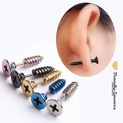 Pair of Trendy Women Men Chic Punk Stainless Steel Screw Ear Studs Earrings