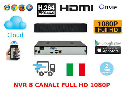 NVR 8/9 CANALI FULL HD 1080p 3G WIFI ONVIF P2P CLOUD VIDEOSORVEGLIANZA IP CAMERA
