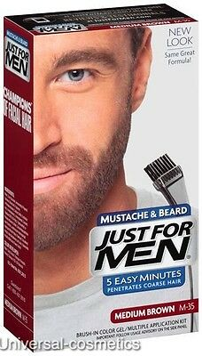 Just For Men Medium Brown Moustache and Beard M-35 M35- FREE DELIVERY