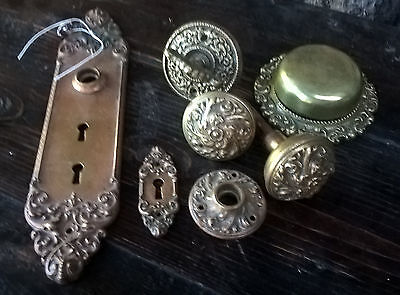 Victorian Classical Revival Brass With Copper Finish Door Knob Bell Set