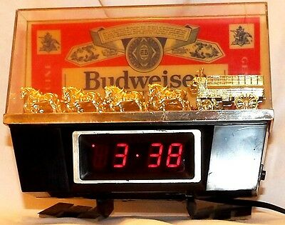 Budweiser Register Top Lighted Clydesdale Lamp And Digital Clock