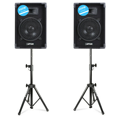 "Pair MAX8PAIR Passive 8"" Home DJ Disco Bedroom Party Speakers w/ Stands 400W"