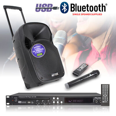 Battery Powered Portable Karaoke System Bluetooth USB DVD CD+G Player Microphone