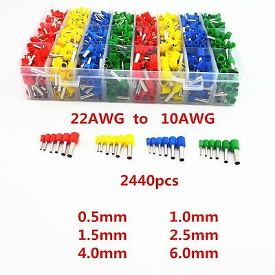 2440Pcs Wire Copper Crimp Connector Insulated Cord Pin End Terminal 22~10 AWG