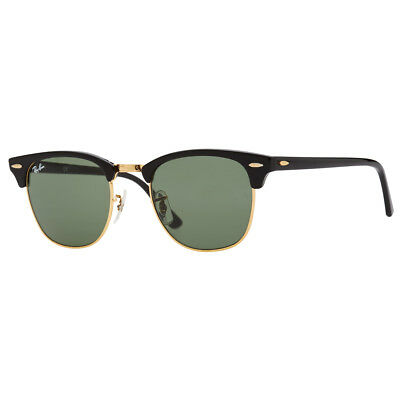 Authentic Ray-Ban Clubmaster Rb3016 W0365 51Mm Green Lens Black Frame Sunglasses