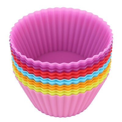 8 x Multi-color Silicone Cake muffin Cupcake Mold Round Baking Mould Bakeware
