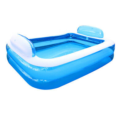 1 Inflatable Family Swimming Pool W/ Pillows 195x148x61cm Relax In Water