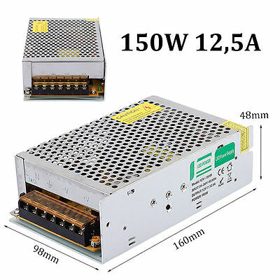 LED Transformer Driver Power Supply Adapter DC12V 12.5A 150W for LED Strips