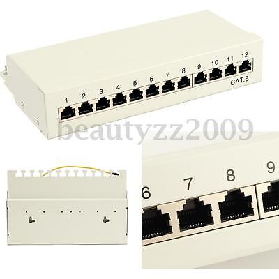 Cat6 12 Ports Ethernet Network RJ45 Patch Panel For 22-26AWG 0.4-0.64 AWG Cable