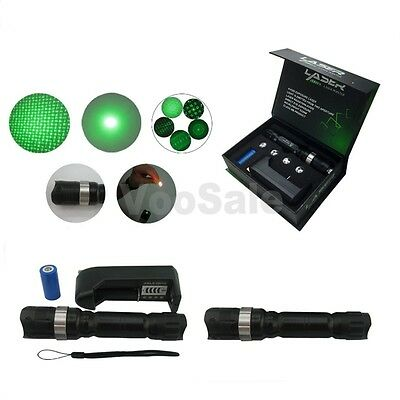 Powerful Green Laser Pointer Beam Light Laser Pen 532nm Battery+Charger +5 Head