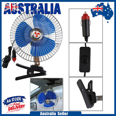"""Portable 12V 8"""" Car Oscillating Cooling Fan with Clip Switch Outdoor Camping"""