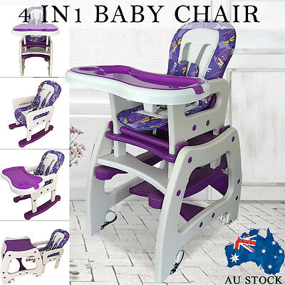 4in1 Adjustable Baby Children High Chair Dinning Rocking Horse Study Table Set #