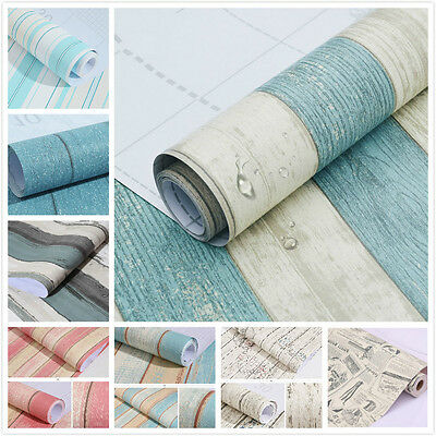 Self Adhesive Real Look Wood Grain Brick Newspaper PVC Wallpaper Roll Home Decor