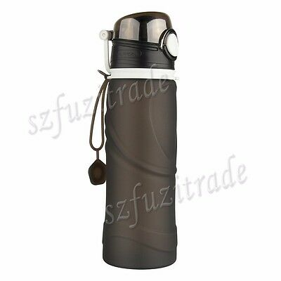 BPA Free 750ml Silicone Collapsible Water Bottle Folding Travel Sports Leakproof