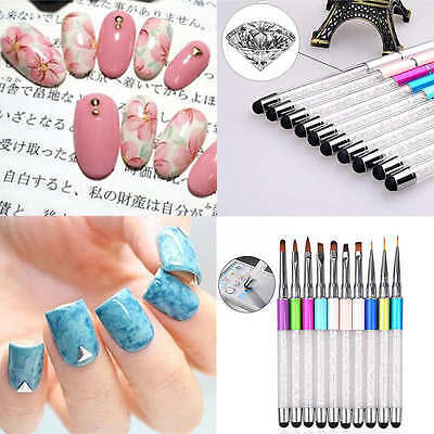 Strass Pinsel Nail Art UV Gel Pinsel Design Brush Nageldesign Touch Screen