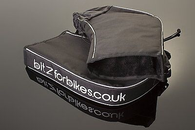 Motorcycle Handlebar Muffs Black and White Bitzforbikes