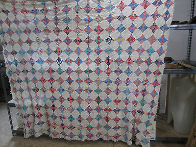 Vintage 1940's Hand Sewn Quilt Top Diamond Pattern for Projects