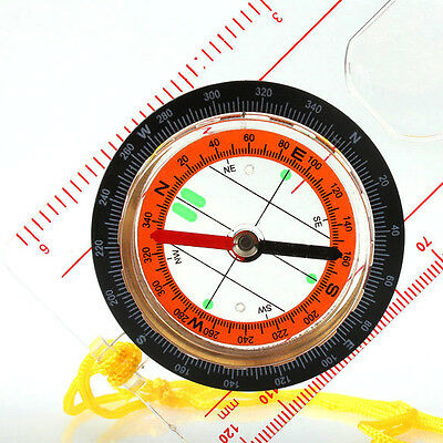 Outdoor Camping Hiking Baseplate Map Compass Ruler Magnifier Neck Strap Chain