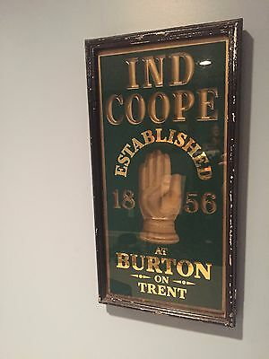 Rare Vintage IND COOPE Beer Sign - English Pale Ale - Glass w Metal Frame