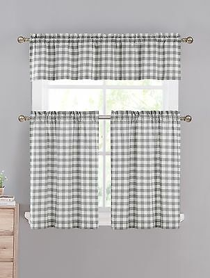 Red White Gingham Checkered Plaid Kitchen Tier Curtain Valance Set ...