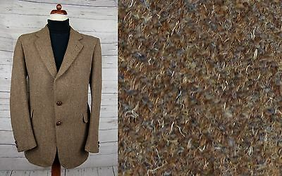 Vtg Classic Brown 2 Leather Button Harris Tweed Jacket -42- DE86