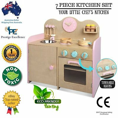 Kids Wooden Kitchen Set Toy Pretend Play Children Toddlers Cooking Home Cookware