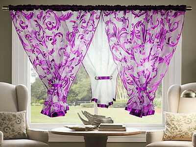 Amazing Voile Net Curtains Ready Made Living Dining Room Red Orange Green Purple