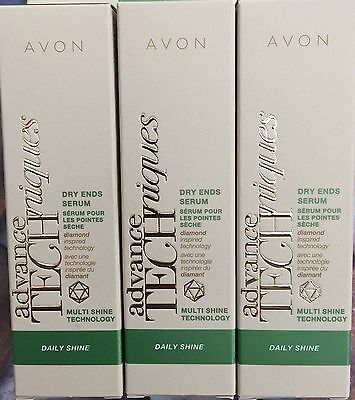 3 x AVON Advance Techniques Daily Shine Dry Ends Serum all Hair Types 30ml NEW