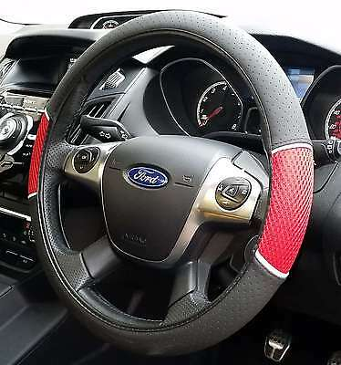 Universal Red and Black Car Steering Wheel Cover Non-Slip Soft Faux Leather