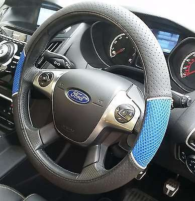 Universal Blue and Black Car Steering Wheel Cover Non-Slip Soft Faux Leather