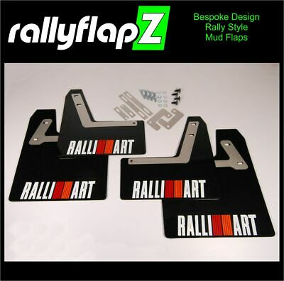 Rally Style Mud Flaps to fit Mitsubishi Evolution 4 Red Ralliart White 4mm PVC