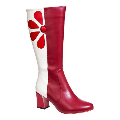 Banned Strawberry Fields 4ever Burgundy/White Knee High Retro Style Boots