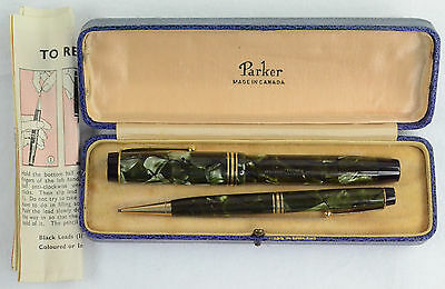 Black-veined Green Marbled Parker Duofold Sr Deluxe Fountain Pen Pencil Set