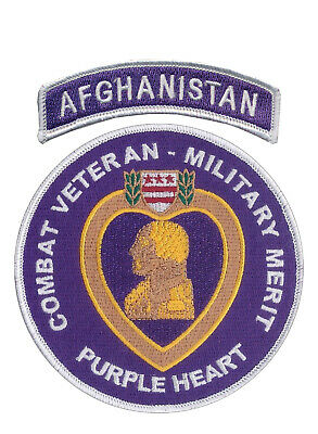 Combat Veteran - Purple Heart Patch with Afghanistan Tab - OEF - Ranger - SF