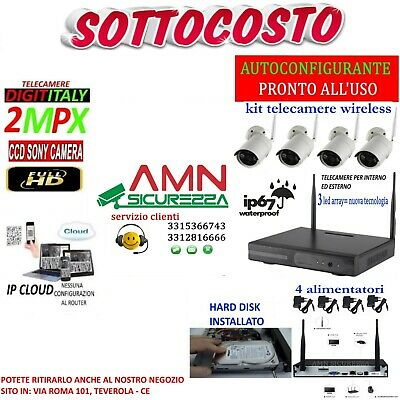 Kit Wireless Wifi Videosorveglianza Ahd 2Mp Dvr Full Hd 4 Telecamere Ip Cloud
