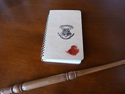 Hogwarts Note Book & Wooden Magic Wand,List of Spells. Harry Potter gift