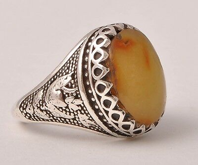 Middle Eastern genuine Amber Silver Ring-Handmade
