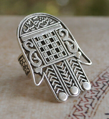 Handcrafted middle eastern Arabic sterling Silver Ring/Hand of Fatima