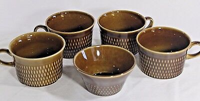 STAVANGERFLINT Earthenware 4 Mugs Bowl Brown NORWAY Scandinavian Mid Century