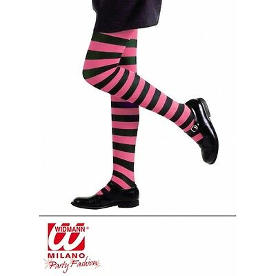 Childrens 4-6 years pink and black striped tights fancydress accessory