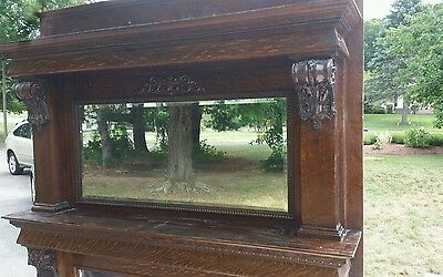 Antique  Oak Fireplace Mantel with Beveled Mirror and fake inlay of brick