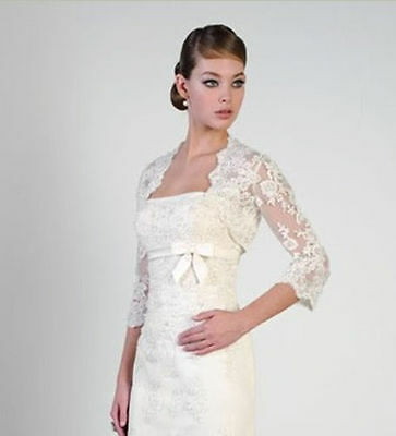 New White or Ivory 3/4 Sleeve Lace Women's Boleros Wrap Wedding Bridal Jackets