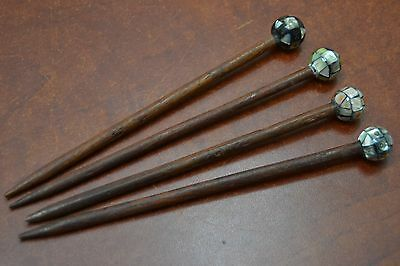 4 Pcs Assort Mother Of Pearl Wood Hair Stick Pins #hp-15